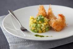 crispy prawns with mango pineapple and avocado salsa recipes