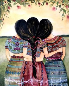 Guatemalan sisters art print by claudiatremblay on etsy. Sister Gifts, Gifts For Friends, Guatemalan Art, Claudia Tremblay, Birthday Rewards, Sisters Art, Three Sisters, Sibling Gifts, Mom Day