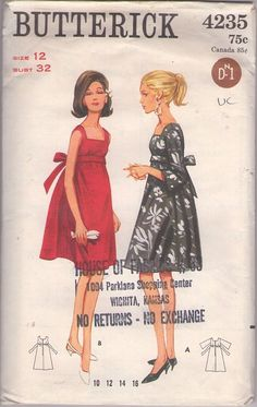 Butterick 4235 Vintage 60's Sewing Pattern ELEGANT Mod Empire Waist Tied Back Gathered Skirt Tent Dress, Red Carpet Cocktail Party Gown #MOMSPatterns