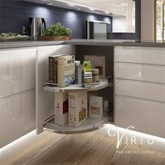 Make your new kitchen work for you with clever storage ideas that give you easy access, help keep everything organised and your worktops clear. Corner cabinets ensure you won't waste an inch of space! See our exciting rage of storage solutions at http://www.virtukitchens.uk/storage/ #TheArtOfLiving