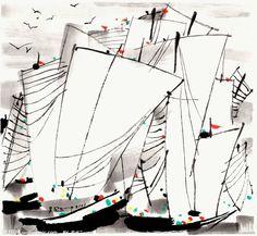 《帆》- 吴冠中/Wu Guanzhong