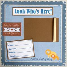 boy scrapbook layouts | SALE- Baby Boy 12x12 Scrapbook pages Album 20 ...