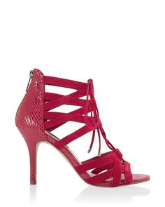 Red Suede Lace-Up Heel.