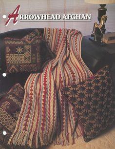 👭 Padrão Cobertor afegão Crochê Cabeça de Flecha pela Tricotar itens decorativos Criações -  /  👭 Pattern Afghan Blanket Crochet Arrowhead by Knit Knacks Creations -