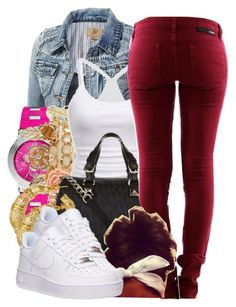 """""""Watch Out"""" by perfectlyjayx ❤ liked on Polyvore featuring Michael Kors, Charlotte Russe, American Eagle Outfitters, MICHAEL Michael Kors, Hurley, Gogo Philip, NIKE, Color and burgundy"""
