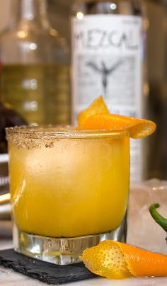 Holiday party cocktail idea: Smoke & Heat with mezcal, jalapeno syrup and smoked salt via Nordstrom. Mezcal Cocktails, Tequila Drinks, Cocktail Drinks, Cocktail Recipes, Drink Recipes, Alcoholic Drinks, Cocktails For Parties, Easy Cocktails, Summer Drinks