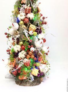 Купить Настольная елочка с подсветкой - комбинированный, елка, настольная елка, дизайнерская елка, подарок, Праздник