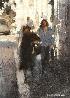 """A portrait among a landscape painting""Focus figure , watercolor by Chien Chung Wei"