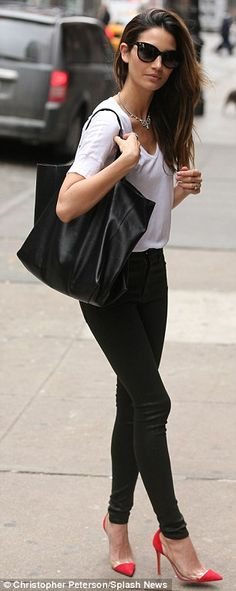 Lily again... love the hair and over-sized bag... monochrome black and white - with red heels!!