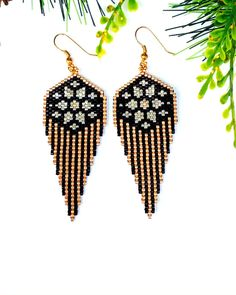 Bead Embroidery Jewelry For You or Someone You Love by SplendidBeadsBklyn Diy Seed Bead Earrings, Beaded Earrings Patterns, Jewelry Patterns, Beading Patterns, Seed Beads, Bead Embroidery Jewelry, Beaded Embroidery, Earring Tutorial, Brick Stitch