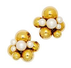 Cultured Pearl and Gold Earclips, Marina B