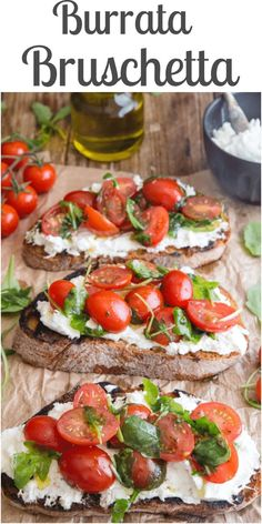 Burrata Bruschetta, grilled Italian bread, spread with a delicious creamy cheese then topped with a tasty tomato mixture. The perfect Summer appetizer. Cheese Recipes, Appetizer Recipes, Cooking Recipes, Italian Food Appetizers, Cold Appetizers, Tomato Bruschetta, Bruschetta Bread, Burrata Salad, Crack Crackers