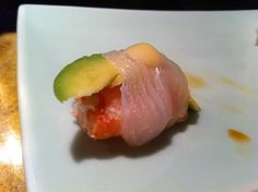 snow crab and avocado wrapped with halibut
