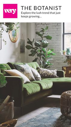 Very Home Botanist Trend Very Home Botanist Trend Very co uk veryhq Home Trends Step into the wild this season with the Botanist trend nbsp hellip Boho Living Room, Home And Living, Living Room Decor, Bedroom Decor, Green Living Room Furniture, Bedroom Plants, Jungle Pattern, Living Room Ideas 2020, Living Room Trends
