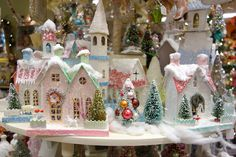 Vintage Christmas style village houses.