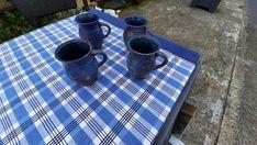 4 Irish studio pottery coffee mugs Handmade in Ireland Textured Handles by SOHOANTIQUESIRL on Etsy Mary John, Thumb Prints, Irish Sea, Moody Blues, Fish Design, Ceramic Artists, Morning Coffee, Tea Time, Ireland