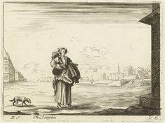 Louis François du Bouchet | Vrouw met oude kleren onder de arm, Louis François du Bouchet, Nicolas Langlois, c. 1670 | Een vrouw heeft een bundel kleren en een mof onder de arm. Naast haar een hondje. Ze staat in een lege straat voor een de hoek van een gebouw. Achter haar een hond. Op de achtergrond een stadsmuur. Zesde prent in een serie van 12 genummerde prenten met figuren in landschappen.