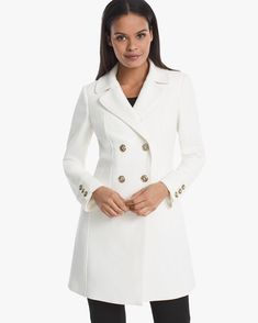 Polished goldtone buttons lend a luxurious look to this ecru jacket offering the warmth of wool and wear-everywhere appeal.