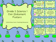 These are full page posters for I Can Statements for Grade 2 Science. The standards are those for the Saskatchewan curriculum.Posters are full page. Teachers can laminate them to make them more durable for use year after year.If you would prefer more than one I Can Statement on a page or if you would like a different background, simply contact me.The I Can Statement posters for all Grade 2 subjects are available from Nana Fran's Teaching Resources.Follow my store to be notified when new…