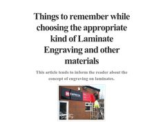 Things to remember while choosing the appropriate kind of Laminate Engraving and other materials http://checkthis.com/laminate-engraving