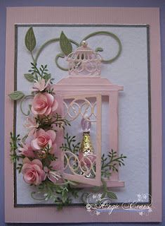 use this for bird and bird cage Large Lantern Creatables Die by Marianne Pretty Cards, Cute Cards, Marianne Design Cards, Quilled Creations, Pink Bottle, Window Cards, Ideias Diy, Beautiful Handmade Cards, Flower Cards
