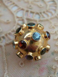 Circa 1955 Collet Set Multiple Gemstones Sputnik Charm or Pendant