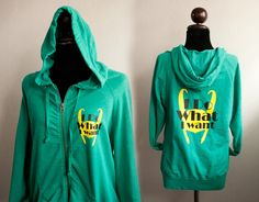 Loki Hoodie: I do what I want small logo with big size on green sweatshirt Hoodie Limited on Etsy, $38.00