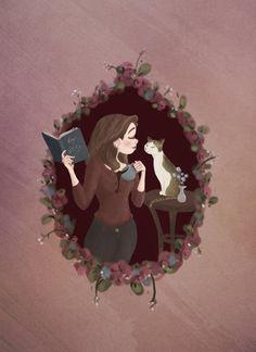 love book for boyfriend Illustrations, Illustration Art, Reading Art, Reading Library, Cat Drawing, Cat Art, Art Girl, Book Worms, Book Art