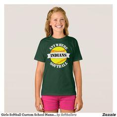 Girls Softball Custom School Name and Mascot Shirt #softball #teamshirts #softballteam #softballshirts #softballtshirt #fastpitch