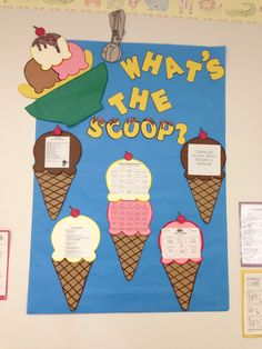 What's the Scoop? Information Board for parents! By: Madisyn B. Toddler Classroom, Preschool Classroom, Art Classroom, Classroom Themes, Classroom Organization, Preschool Activities, Holiday Classrooms, Parent Information Board, Information Bulletin Boards