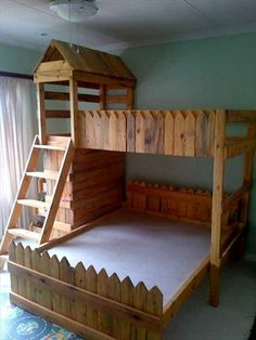 Pallet Bunk Beds are specially designed to store the ground area. Joining a few full pallets is an easy manner to get a solid structure to maintain a bed at. Childrens Bunk Beds, Bed For Girls Room, Bunk Beds For Girls Room, Kid Beds, Kids Room, Bunk Beds With Storage, Bunk Beds With Stairs, Cool Bunk Beds, Pallet Bunk Beds