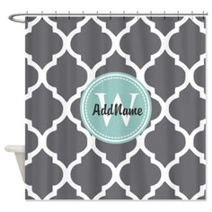 Gray Grey Mint Quatrefoil Monogram Shower Curtain on CafePress.com