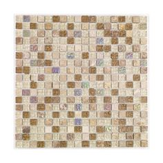 Create brilliant borders and feature walls in your bathroom with these decorative mosaic tiles.  With a mix of natural stone and glass squares, these tiles will fit in perfectly with more neutral colour schemes such as beige.  Featuring a wonderful gloss finish, they will help reflect light and keep your bathroom bright and cheerful. #Tiles #Bathroom #Interiors