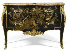 A gilt-bronze mounted Chinese black, gold and polychrome lacquer and vernis martin commode Louis XV, circa 1765   lot   Sotheby's