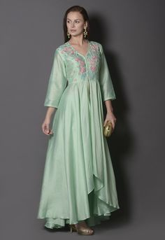 GREEN BIRD MOTIF FRONT OPEN ASYMMETRIC ANARKALI SET