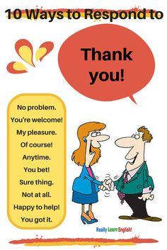 "Learn to Speak English! 10 Ways to Respond to Thank you in English! (Synonyms for ""You're Ways to Respond to Thank you in English! (Synonyms for ""You're Welcome"") English Vinglish, English Course, English Idioms, English Phrases, English Writing, English Study, English Lessons, English Grammar, French Lessons"