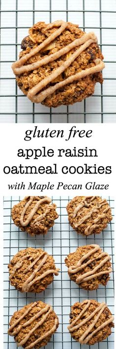 These Gluten Free Apple Raisin Oatmeal Cookies with Maple Pecan Glaze make an ideal mid-morning or after-school snack. |www.flavourandsavour.com
