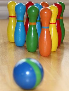 Vintage Bowling Set for Table Wooden Unique and by TheUnextreme