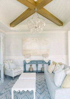 Inspiring Interior Paint Color Ideas - (Cool Breeze by Benjamin Moore)