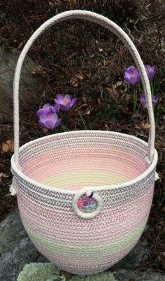 Coiled rope Easter basket, purples & pinks, zigzag on 100% cotton braided rope, by Andrea