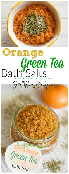 This Green Tea Bath Salt has blood orange essential oil for a zesty, citrus scent. Great for an uplifting therapeutic experience. Natural skincare and aromatherapy using a bath salt soak