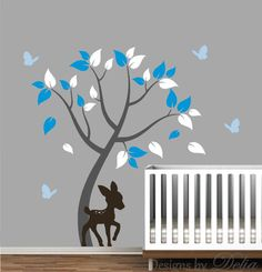 "♥♥♥♥ Included ♥♥♥♥ 1 Tree - 65"" tall by 48"" wide (Comes in separate pieces for easier installation) 1 Deer - 25"" tall by 16"" wide 4 Butterflies Leaves Directions for applying your decals ♥♥♥♥ Colors ♥"