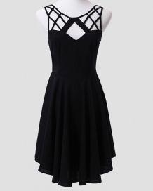 Black Sleeveless Back Cross Dress