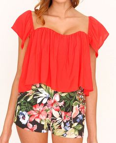 Santorini Crop Top Red