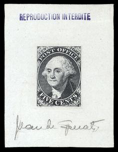 "United States Postmaster's Provisionals New York, NY 1845 5c black, Sperati reproduction, die proof on cream paper, stamped ""Reproduction Interdite"" and signed by Sperati, v.f."