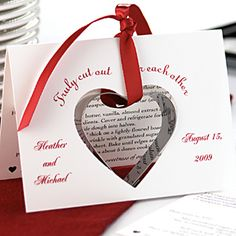 Heart Cookie Cutter Wedding Favour. Shoot, I would give any shape cookie cutter as a favor. This is a cute idea! And cheap.