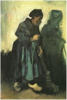 Vincent van Gogh Painting, Oil on canvas on panel Nuenen: February - March, 1885 Kröller-Müller Museum Otterlo, The Netherlands, Europe  Peasant Woman Sweeping the Floor Van Gogh Gallery