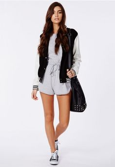 This super chilled #grey #playsuit is the perfect #lounge piece for the new season. The relaxed slouchy fit and cool cut out shoulder detail make this a total winner in our eyes. Style it up with some flat trainers and a #Missguided denim jacket.