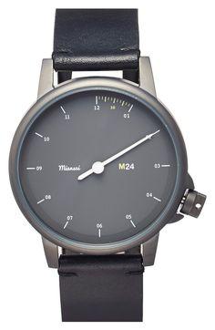 Main Image - Miansai 'M24 Noir' Single Hand Leather Strap Watch, 35mm