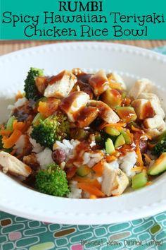 Spicy Hawaiian Teriyaki Chicken Rice Bowl (Rumbi Copycat) - Dessert Now, Dinner Later! Teriyaki Chicken Rice Bowl, Chicken Rice Bowls, Teriyaki Bowl, Chicken Curry, Garlic Chicken, I Love Food, Good Food, Yummy Food, Gourmet
